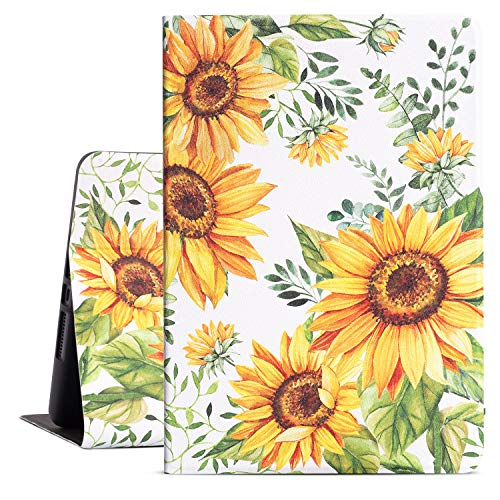Drodalala 10.2 inch iPad Case ,8th Generation iPad case for Kids,iPad 7th Generation Protective Cover with Premium Leather Soft TPU Adjustable Viewing Stand iPad 10.2 Case-Auto Wake/Sleep(Sunflower)