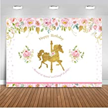 Mehofoto Carousel Unicorn Birthday Backdrop Pink Floral Unicorn Photography Background 7x5ft Vinyl Unicorn Birthday Party Banner Backdrops