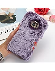 SevenPanda Samsung Note 5 Funda, Note 5 Funda Protectora, Plush Rabbit Funda Hecha a Mano Funda Protectora Elegante Linda 3D Diamond Rhinestone Bling Crystal - Púrpura