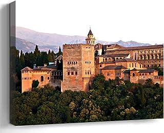 Wall Art Print Canvas Framed Artwork Home Decor(20×16 in)- Alhambra Granada Spain..