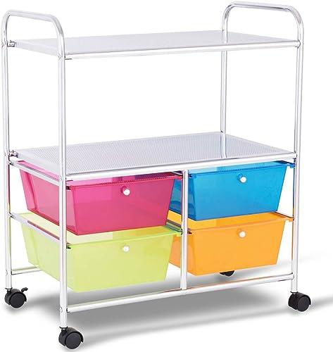2021 Giantex Rolling Storage Cart online w/ 4 Drawers 2 Shelves Metal Rack Shelf Home Office School Beauty Salon Utility Organizer Cart with Wheels (Blue Green Orange & wholesale Red) outlet online sale