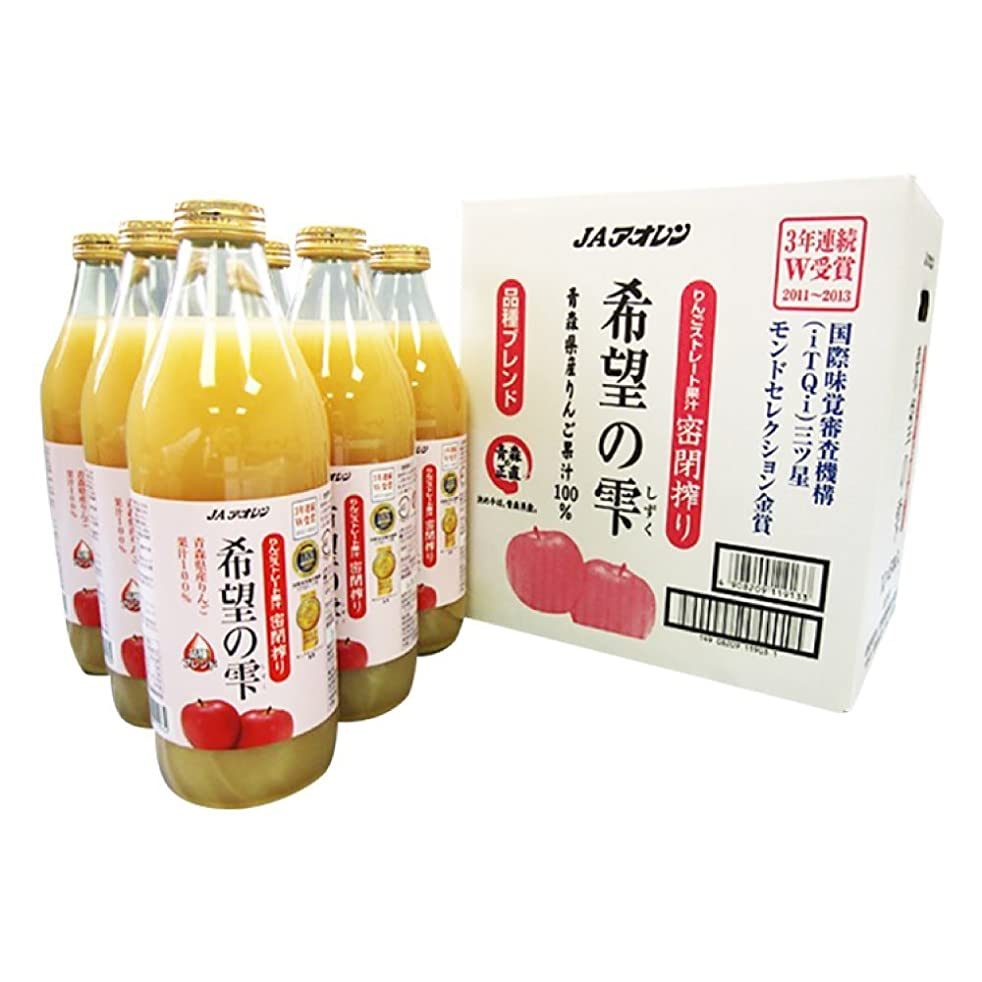 Keysystem 4908209119133 Due Date Attention> Hope (Using Apple Made in Aomori Prefecture · Fruit Juice 100%) 1 L Bottle 1 case, Clear