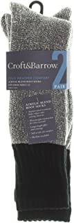 2 Pair Acrylic Blend Boot Socks - Cold Weather Comfort (Gray/Black)