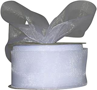 Ribbon Bazaar Sheer Organza 1-1/2 inch White 25 Yards 100% Nylon Ribbon
