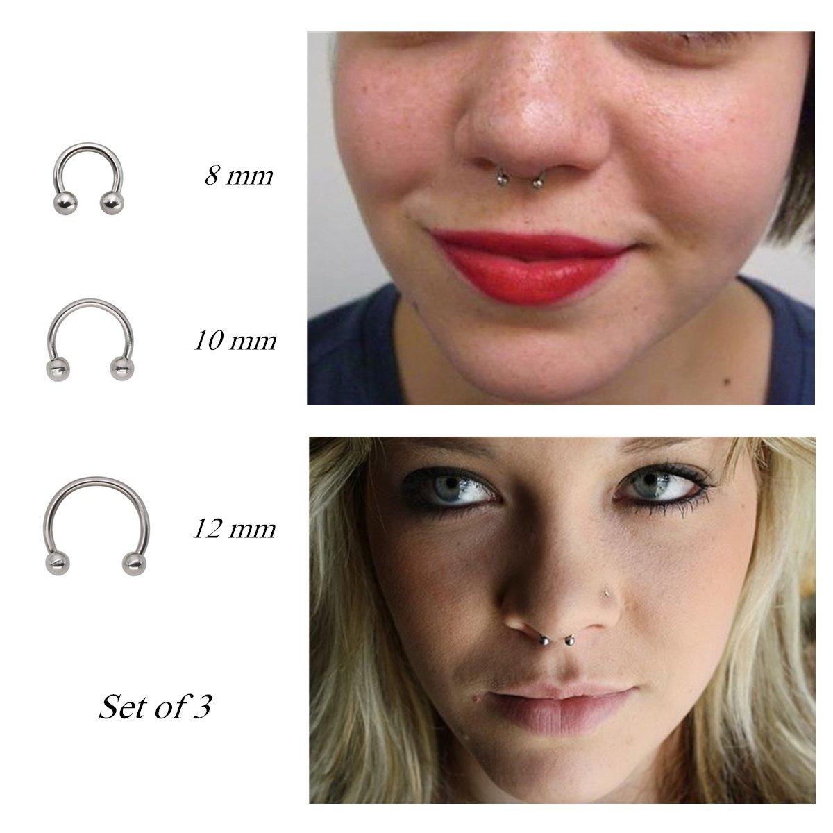 Pamido Bull Nose Ring Horseshoe Hoop Nose Rings Cartilage Earring Nose Septum Nose Nostril Stainless Steel for Women Girls Men