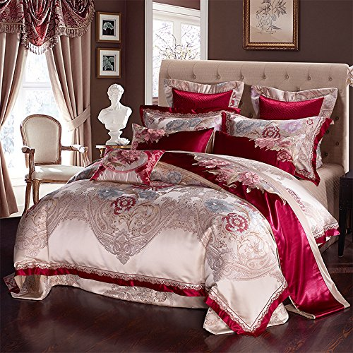 Amazing Deal BB.er Continental luxury villa satin Jacquard upscale bedding ten sets, red