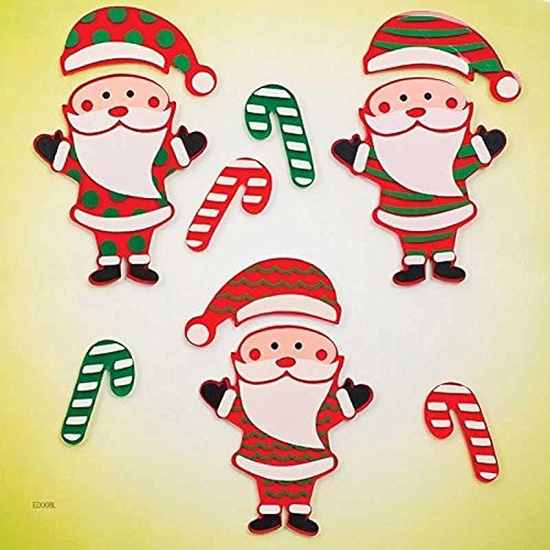 Design Ideas GelGems Christmas Themed Gel Window Clings Snazzy Santas Large Bag