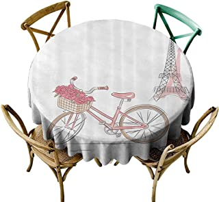 Mannwarehouse Vintage Decor Collection Durable Tablecloth Vintage Bike with Roses in Basket Paris Eiffel Tower Landscape French Floral Valentines Easy Care D71 Pink White