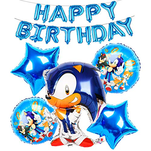 SUNSK Globos de Foil Cumpleaños para Sonic The Hedgehog Fiesta Happy Birthday Banner balloons sonic Cumpleaños Decoracion 7 Piezas