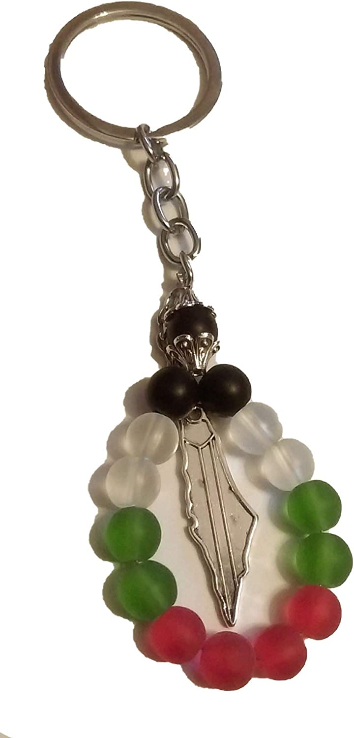 Fancy Palestine colored beads design Flag with Palestine metal map keychain keyring