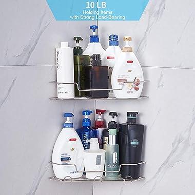 AmazerBath Adhesive Bathroom Corner Shower Shelf Corner Shower Caddy with Hooks Stainless Steel Shower Storage Organizer Wall