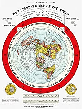 Flat Earth Map - Gleason s New Standard Map Of The World - Medium 18  x 24  Poster Includes FREE eBook and Flat Earth Bumper Sticker
