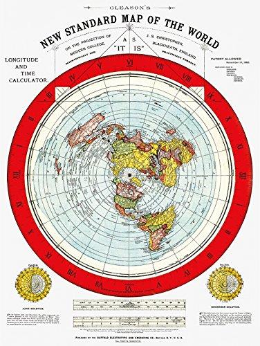 Mapa de la tierra plana, nuevo mapa estándar del mundo de Gleason's New Standard Mapa del Mundo – Mediano 45,7 x 60,9 cm (incluye libro electrónico y pegatina para parachoques de tierra plana)