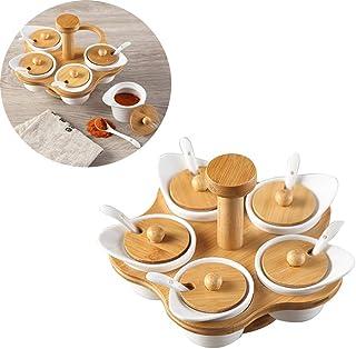 LSJZF Condiment Pots Set, Pot en Porcelaine Condiment pour La Maison De Cuisine, Pot À Épices, Serving Céramique Cuillère,...