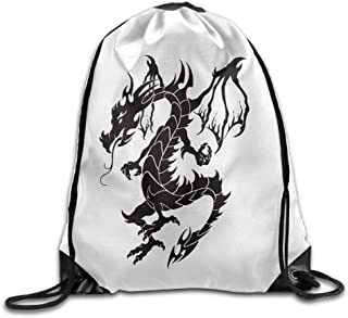 Superb Black Ink Tribal Dragon Tattoo Gym Drawstring Backpack Unisex Portable Sack Bag