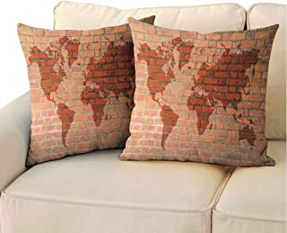 QIAOQIAOLO Printed Pillowcase Brick Wall (Set of 2) Brick Wall with World Atlas Map Reflection Pattern Contemporary Artful Educational for Bedroom Orange 20x20 inch