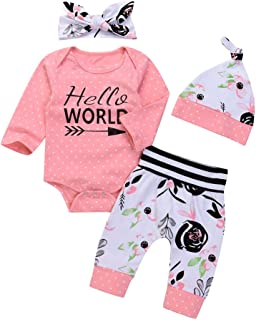 4042b9093a5 OUTGLE Newborn Baby Girl Pink Polka Dot Romper + Trouser + Hat + Headband  Clothing Set