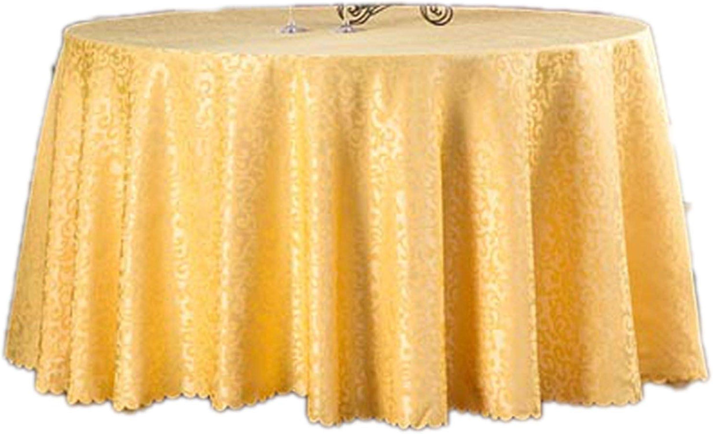 CHUNXU - Nappe Ronde Lavable en Polyester MultiCouleure pour décoration de fête de Mariage, Synthétique, Or Jaune, Round 280cm