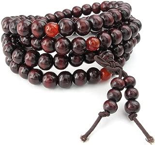 Mens Womens Wood Bracelet, 8mm Tibetan Buddhist Sandalwood Beads Prayer Mala Necklace, Red