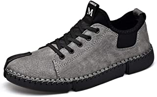Fashion Classic Skate Sneakers for Men PU Leather Outdoor Activities Walking Casual Shoes Anti-Slip Flat Lace Up Stitching Shoes Men's Boots (Color : Gray, Size : 6.5 UK)