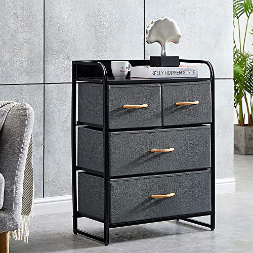 QIHANG-UK Chest of 4 Drawers Living Room Sideboard End Table with Drawers for Nursery Bedroom Cloakroom Kids' Playroom Toy Charcoal Fabric Black Finishing Wood Top Board 58 x 29 x 79cm