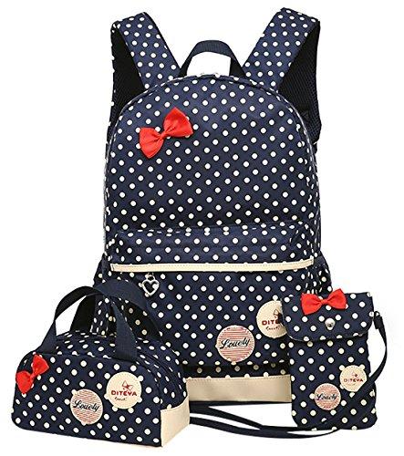 DiTeYaNuo Mädchen Rucksack Wasserdicht Schultasche Sport Kindertasche Freizeit Rucksack Reise Tasche-Dunkelblau