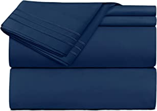 Clara Clark Premier 1800 Collection 4pc Bed Sheet Set - Queen Size, Navy Blue