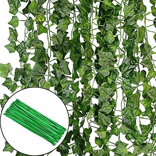 Efeu Künstlich Girlande Efeu Hängend Girlande Efeugirlande Künstlich Efeu Kunstpflanze Hochzeit für Büro, Küche, Garten, Party Wanddekoration (12 Stück)