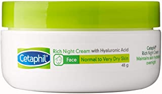 Cetaphil Rich Night Cream Facial Moisturiser with Hyaluronic Acid, 48 grams