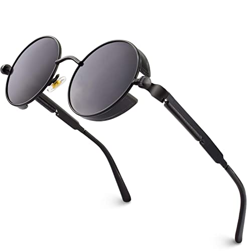 GQUEEN Retro Round Circle Polarized Steampunk Sunglasses Metal Alloy for Women and Men MTS2