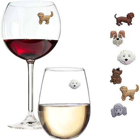 Set Of Six Hand Made Farm Animal Machine Embroidered Wine Glass Charms