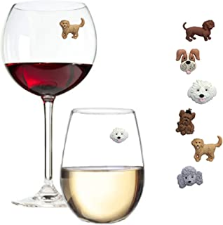 Simply Charmed Magnetic Dog Wine Charms or Glass Markers for Stemless Glasses - Great Birthday or Hostess Gift for Dog Lov...