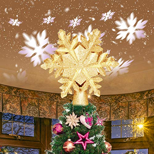 itayak Christmas Tree Topper 3D Projection Light with White Rotating Snowflake Projector Christmas Tree Decorations Festival Lights