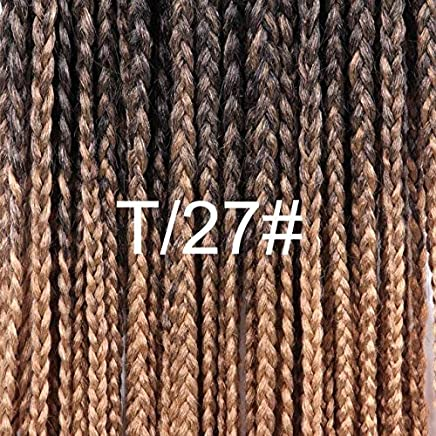 Alileader Box Braid Crochet Braids Hair Extensions Ombre Synthetic Kanekalon Braiding Hair For Women 12 16 20 24 30 Inch : T1B/27, 12inches