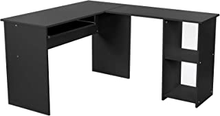VASAGLE Ordenador, Escritorio de la Computadora Negro en Forma de L, Mesa esquinera para Casa Oficina 140 x 120 cm LCD810B