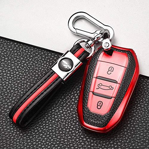 LLFFDC Carcasa Protectora de Llave de Coche para Peugeot 308 408 508 2008 3008 4008 5008 Citroen C4 C4L C6 C3-XR, Protección Llaveros Mando a Distancia Accesorios de Estilo de Coche