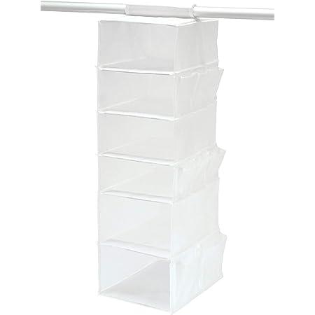 東和産業 収納ラック MSC 吊るして収納6段 クローゼット ホワイト 衣類・小物用 85695
