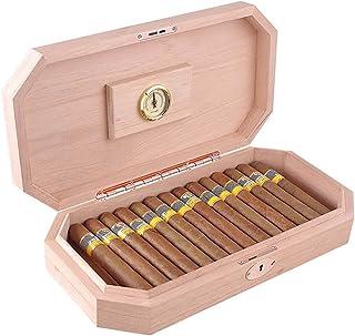 Humidors Cigarr cederträ cigarr förvaringsskåp massivt trä mini cigarr skåp (storlek: 37,7 x 19,1 x 7,5 cm)