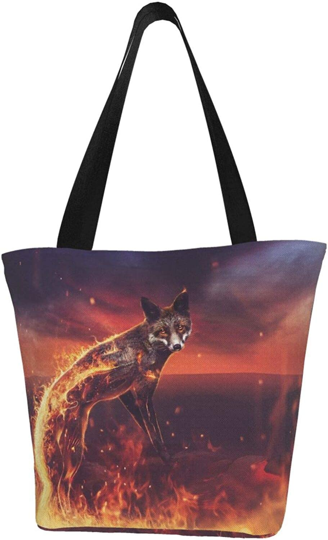 Fox Farm Art Animals Flame Themed Printed Women Canvas Handbag Zipper Shoulder Bag Work Booksbag Tote Purse Leisure Hobo Bag For Shopping