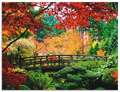 Artland Wandbild Alu für Innen & Outdoor Metall Bild 120x90 cm Architektur Brücken Fotografie Grün Eine Brücke im japanischen Garten T9IB