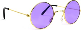 Skeleteen John Lennon Hippie Sunglasses - Purple 60's Style Circle Glasses - 1 Pair