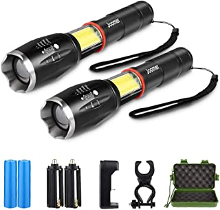 2 Pack High Lumen Flashlight, 1000 Lumen, Zoomable, 6 Modes, Cree LED, Waterproof Handheld Flashlight with COB Working Light, Rechargeable Battery & Charger & Bicycle Mount Included