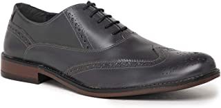 NOBLE CURVE Grey Leather Oxford Brogues Shoes