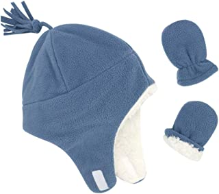Baby Boy Sherpa Hats and Mittens Set Toddler Gloves Warm Fleece Winter Hat Baby Girl