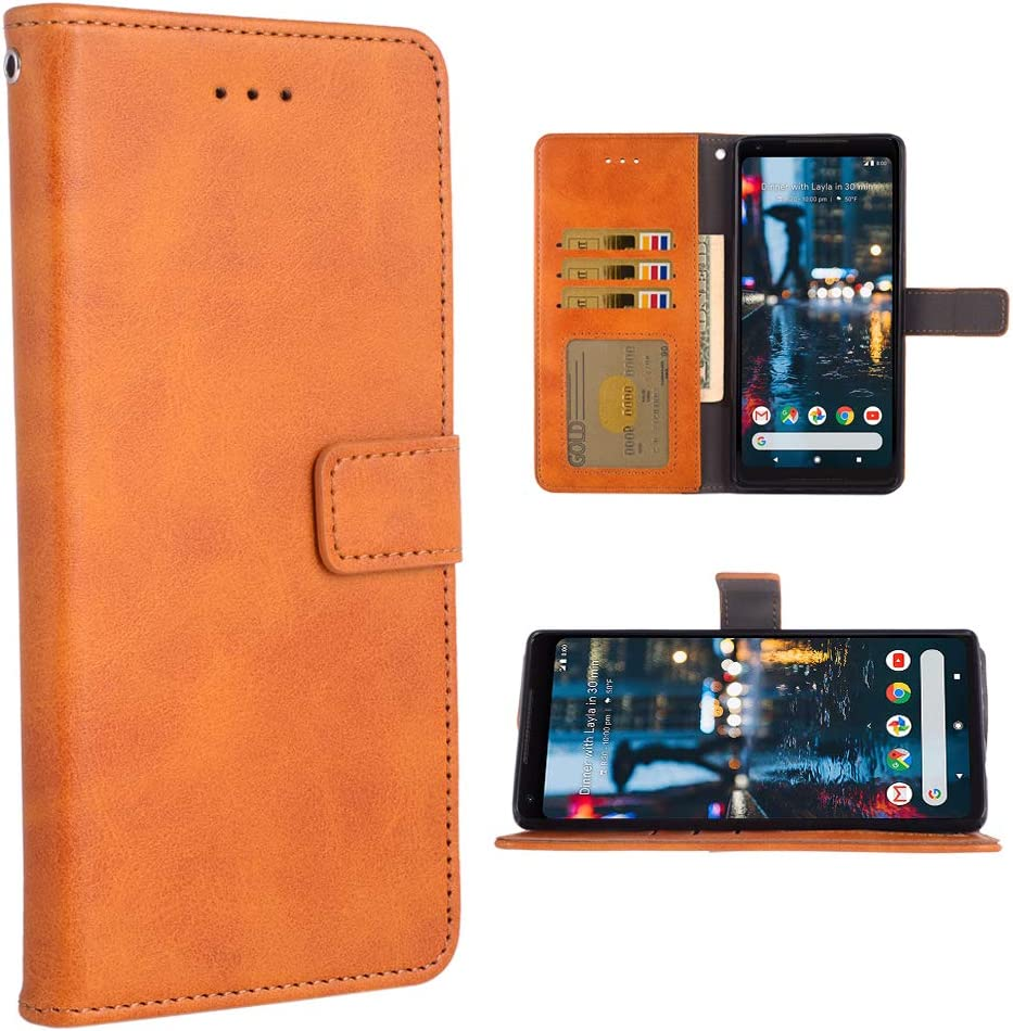 Phone Case for Google Pixel 2 Folio Flip Wallet Case,PU Leather Credit Card Holder Slots Full Body Protection Kickstand Hard Hybrid Protective Phone Cover for Pixel2 Pixle Two G011A Men Brown