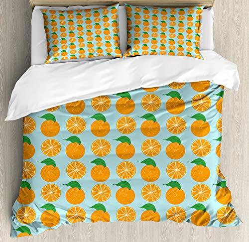 ABAKUHAUS Oranje Dekbedovertrekset, Vitamine C Half gesneden fruit, Decoratieve 3-delige Bedset met 2 Sierslopen, 230 cm x 220 cm, Pale Blue en Oranje