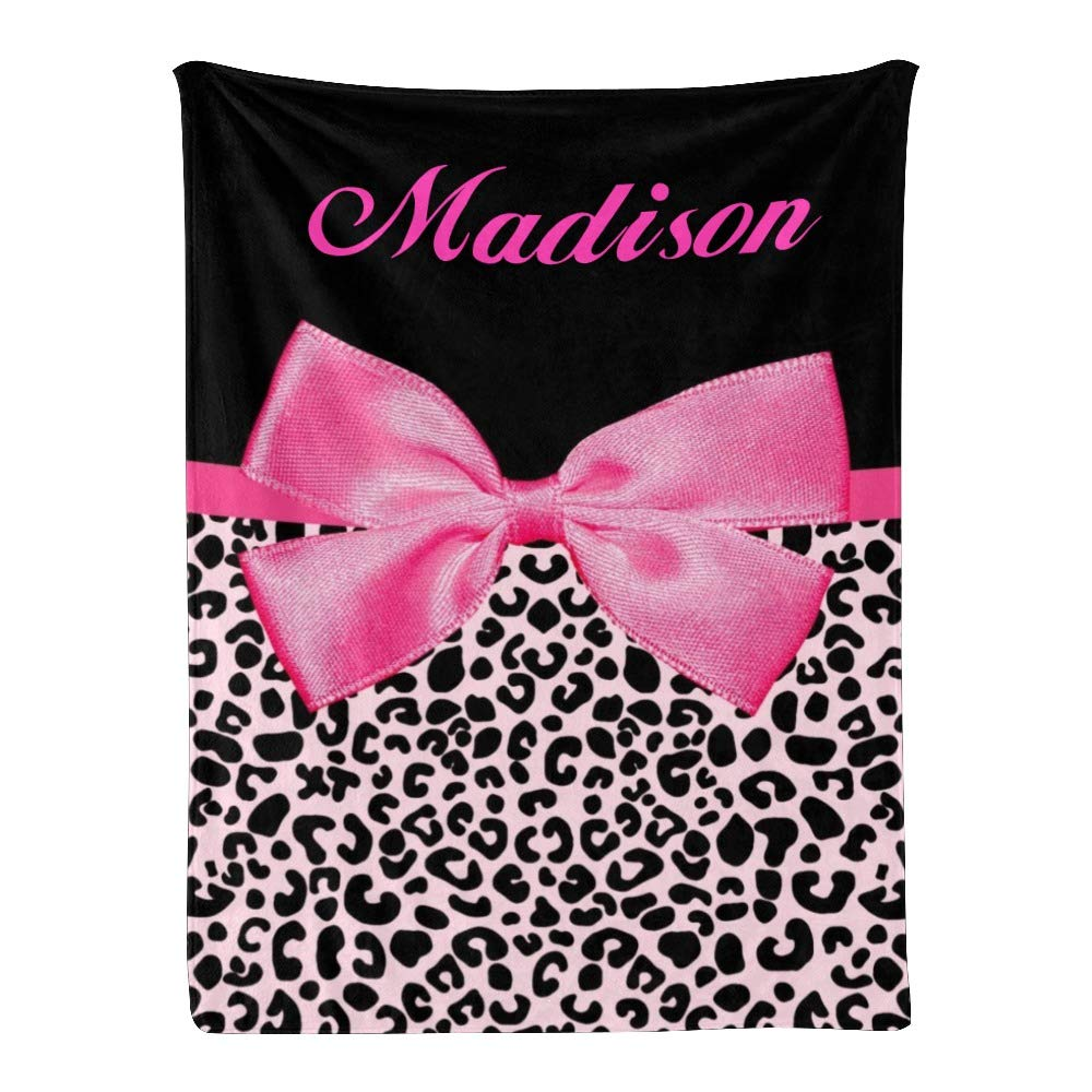 Personalized Kids Fleece Bombing free shipping Blanket with B Leopard Custom Detroit Mall Name Pink