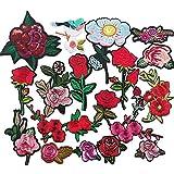 Chenkou Craft 20 parches bordados al azar con diseño de rosas para planchar o coser.