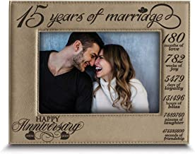 Bella BUSTA-15 Years of marriage-2004->2019-Months, Weeks, Days, Hours, Weeks, Minutes, Seconds-15th Anniversary- Engraved Leather Picture Frame (5