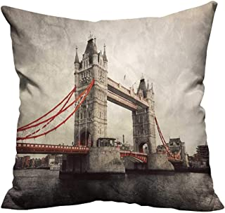 YouXianHome Pillowcase with Zipper Tower Bridge in London,England,The UK Artistic Vintage,Retro Style with red Elements Ultra Soft & Hypoallergenic (Double-Sided Printing) 35x35 inch